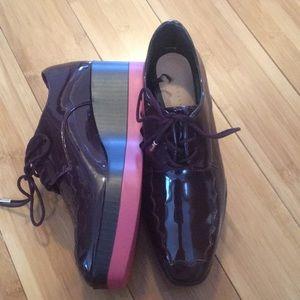NEVER WORN! Zara patent platform brogue sneakers